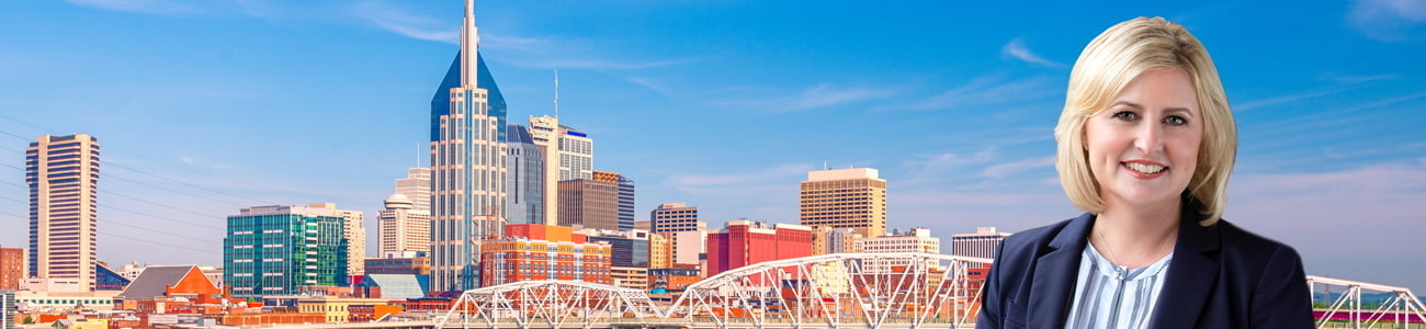 photo of Rebecca Blair over an image of Nashville, Tennessee downtown city skyline.